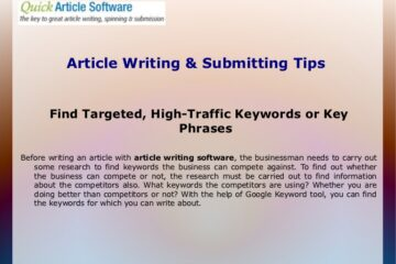 Tips on Article Submission